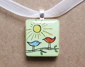 bird friends scrabble tile pendant necklace