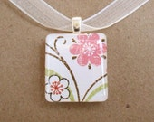 pink and white flower scrabble tile pendant necklace