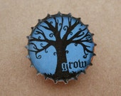 growing tree bottlecap pin