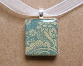 blue leafy scrabble tile pendant necklace