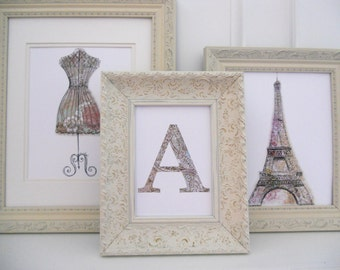 Paris chic collection trio, 2-8x10 1-5x7 collection of prints, sophisticated poster wall art