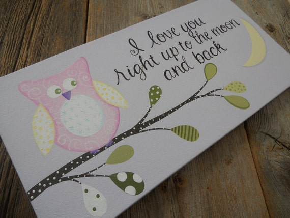 I love u owl, to the moon and back, hand painted 10x20 stretched canvas lavender wall art