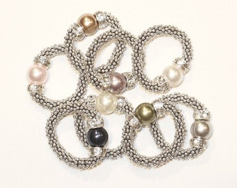 Stretchy Sterling Silver Swarovski Pearl Ring