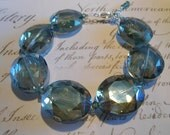 Gorgeous Faceted Crystal and Sterling Silver Bracelet