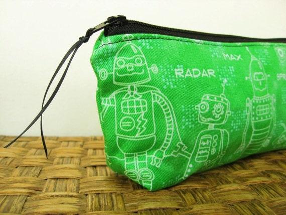 Pencil Case  - Green Robots