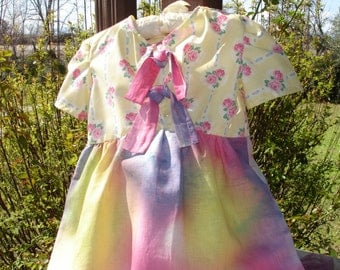 Yellow tie-dye  and  Roses Dress