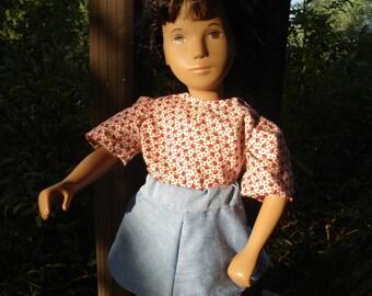 Denim Skirt & Red Leaf Blouse for Sasha