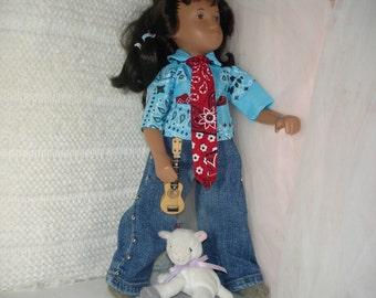 Rootin' Tootin' Cowpoke Blue Shirt for Sasha or Gregor