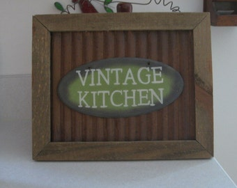Rustic Primitive Tin and Wood Vintage Kitchen Sign Wall Hanging