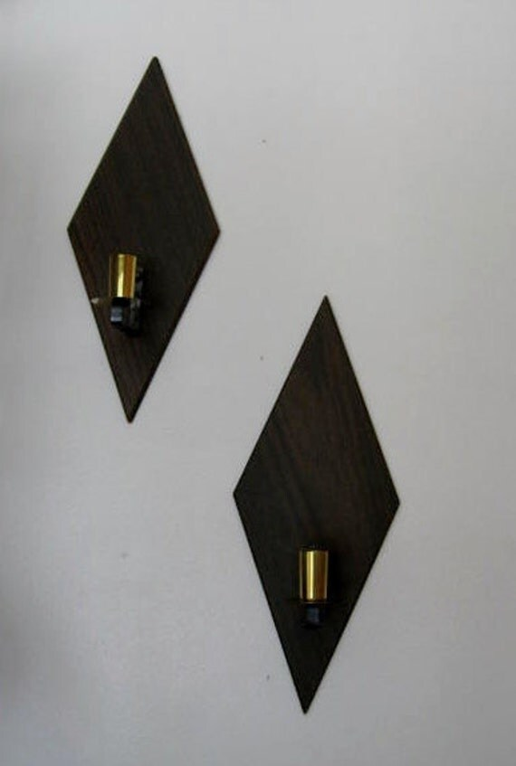Mid Century Wood Diamond Shaped Wall Candle Sconces