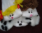 Set of Three Sock Puppets, Girl, Boy, and their Dog