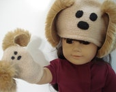 "Puppy Dog Puppet and Hat for 18"" American Girl Doll"
