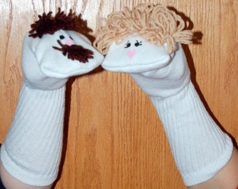Mother and  Father Sock Puppets