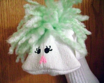 Green-Haired Girl Sock Puppet from Puppets by Margie
