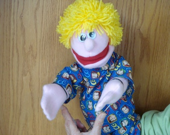 Boy hand puppet moveable mouth 2 arm rods