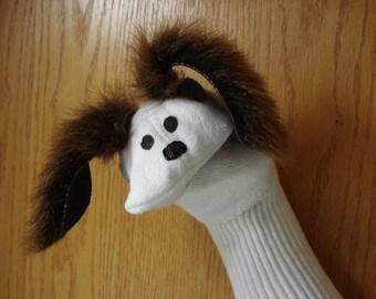 Dog sock puppet brown faux ears