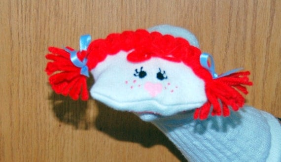 Red Haired Girl Sock Puppet with Braids