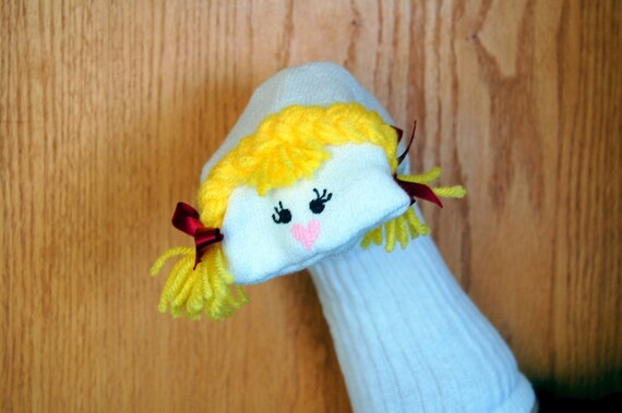 Is Acrylic Paint Toxic >> Girl Sock Puppet blond yellow yarn braids theater roleplaying