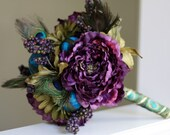 Reserved for Joana - Purple Peacock - Feather Bridal Bouquet