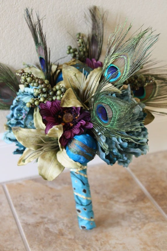 Terrific Teal Bridal Bouquet - Peacock Wedding Bouquet