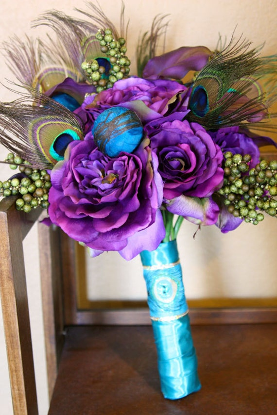 White Wedding Bouquets With Peacock Feathers : Proud as a peacock feather bridal bouquet