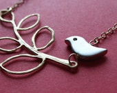 Little Bird Necklace. Gold Plated Leaf and Silver Bird Charm on Delicate Gold Filled Chain (Original Design from BlueDoveStudio)