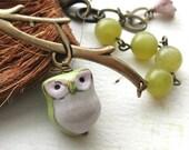 Green Owl. Olive Jade Gemstone Bracelet