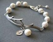 Initial Bracelet, Pearl Bracelet, Branch Bracelet, Graduation Gifts, Bridesmaids Gifts - Monogram Personalized Jewelry - Bridal