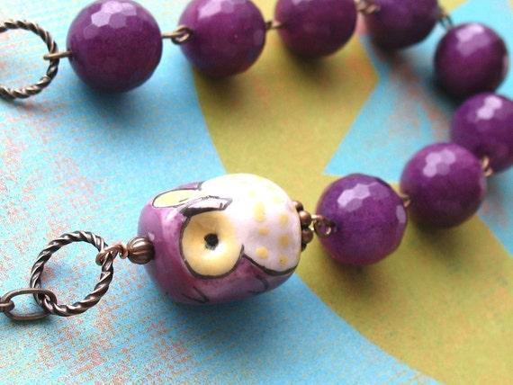Purple Owl. Purple Jade Gemstone Necklace
