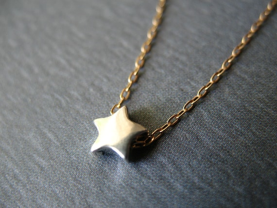 Star Necklace. Sterling Silver Dainty Tiny Gold Filled Chain Birthday Anniversary Friend Gifts for Her Modern Design