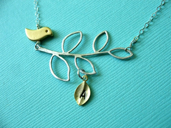Bird Necklace. Sterling Silver Personalized Birthday Anniversary Mon to Be Monogram Custom Initial Leaf Branch Bird Necklace