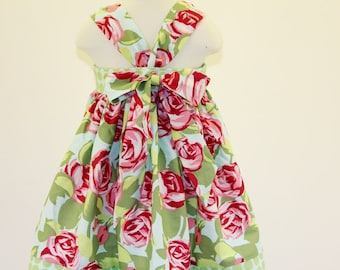 Girls Easter Dress, backless knot dress with big bow, toddler baby dress with red and pink roses, little girls handmade cotton summer dress