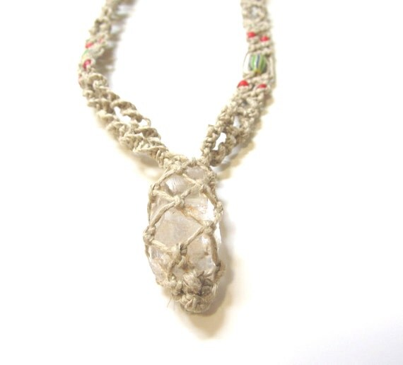 Quartz Crystal Hemp Necklace with beautiful African trade beads