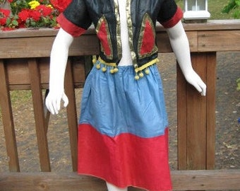 Vintage gypsy Halloween costume 1960s for girl, vest skirt metallic gold trim