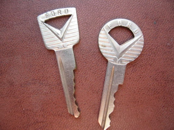 Vintage 1960s pair of Ford keys for old Ford car or truck