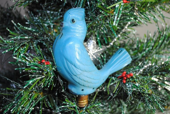Vintage 1950s Bird Christmas Tree Light Bulb Blue Bird Screw