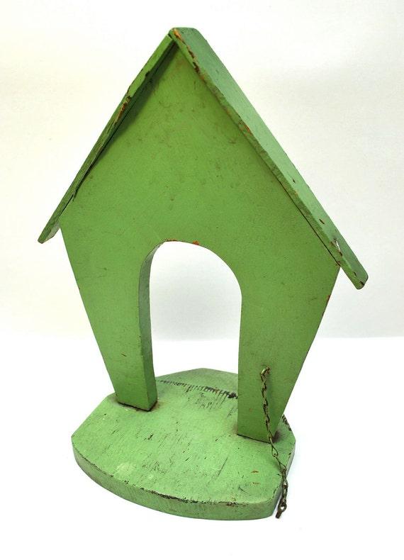 Vintage dog house door stop 1950s wood jadite green