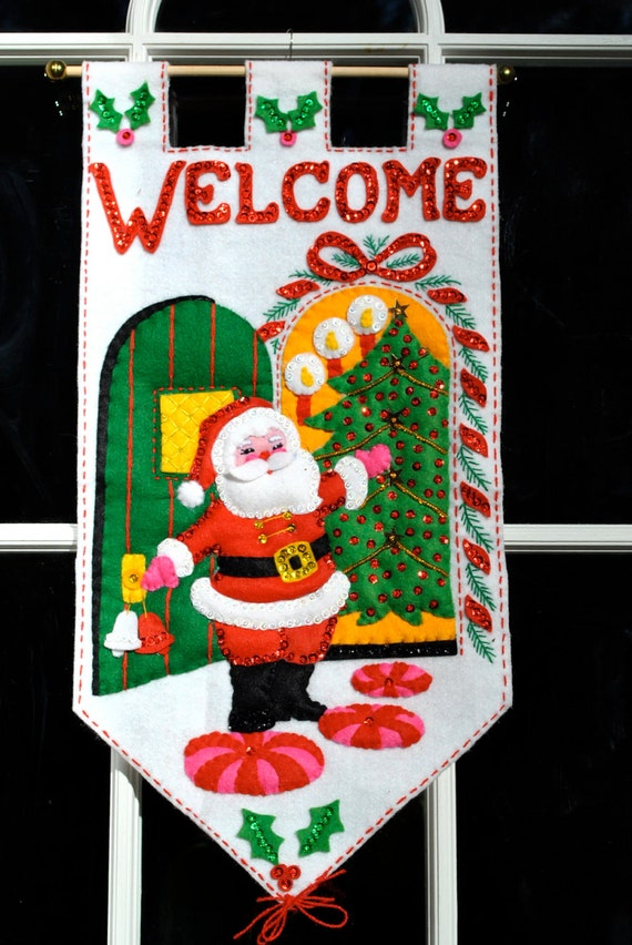 Vintage 1960s Christmas Santa welcome banner lots of sequins hand sewn