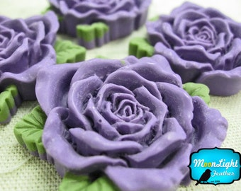 Resin Flower Flat Back, 4 Pieces - PURPLE 40mm Big Resin Roses Cabochon : 1002
