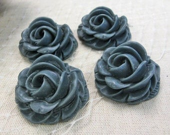 Black Rose Resin, 4 Pieces - MIDNIGHT 29mm Flower Resin Peony Cabochon  : 1020
