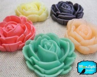 Resin Rose Flower, 5 Pieces - VINTAGE MIX ROSE Flower Flatback Cabochon Resin Set 29mm : 1055