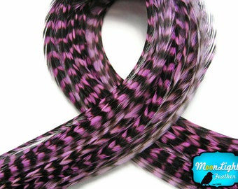 Lavender Hair Feathers, 4 Pieces - LAVENDER Thin Long Grizzly Rooster Hair Extension Feathers : 870