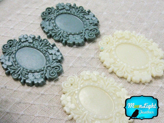 Victorian Frame, 4 Pieces - MORNING DUSK Large Antique Style Resin frame settings 49mm: 1021