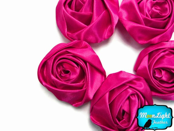 5 pcs - LARGE HOT PINK Satin Flower Rosette Rolled Fabric Flower : 1134