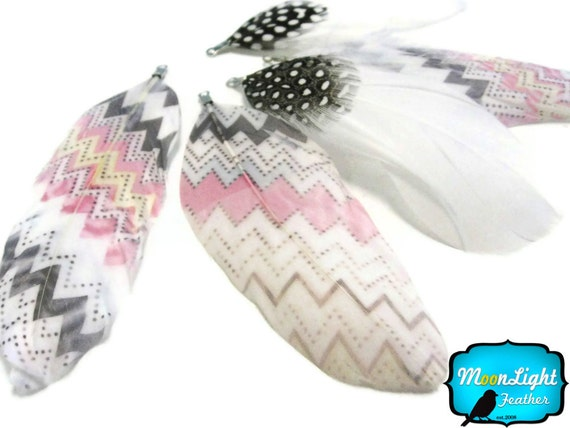 5 Pieces - PASTEL ZIG ZAG Print Goose Nagoire Feather : 1186