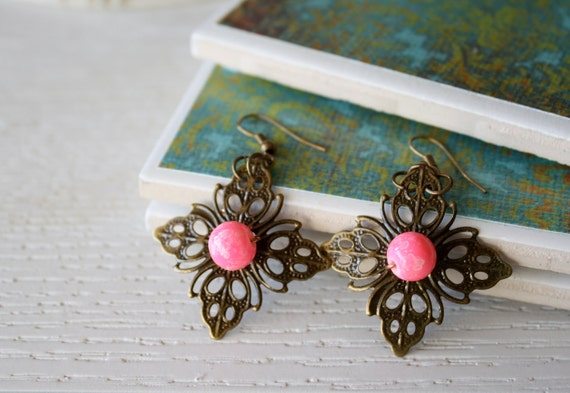 Antique Bronze Flower Dangles with Bright Pink Bead