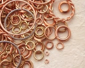 SALE Jump Rings - Deluxe Sample Package - SOLID METAL - Quantity 100 - Copper, Brass, Bronze and Stainless Steel