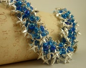 Silver Stars Shaggy Bracelet Kit - Blue Accents - Beginners and Intermediate