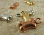 3 Dog Bone Charms Charms - Made in the USA - You Choose Antique Plated Pewter Finish - Handmade Jump Rings Included - 100% Guarantee