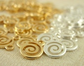 25 Silver or Gold Plated Swirl Charms - 7mm Drops - Best Handmade Jump Rings Included - 100% Guarantee